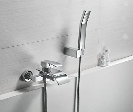 Greenspring Waterfall Wall Mount Bathtub Faucet With Shower Head Bath Tub  Mixer Taps Lavatory Bath Shower