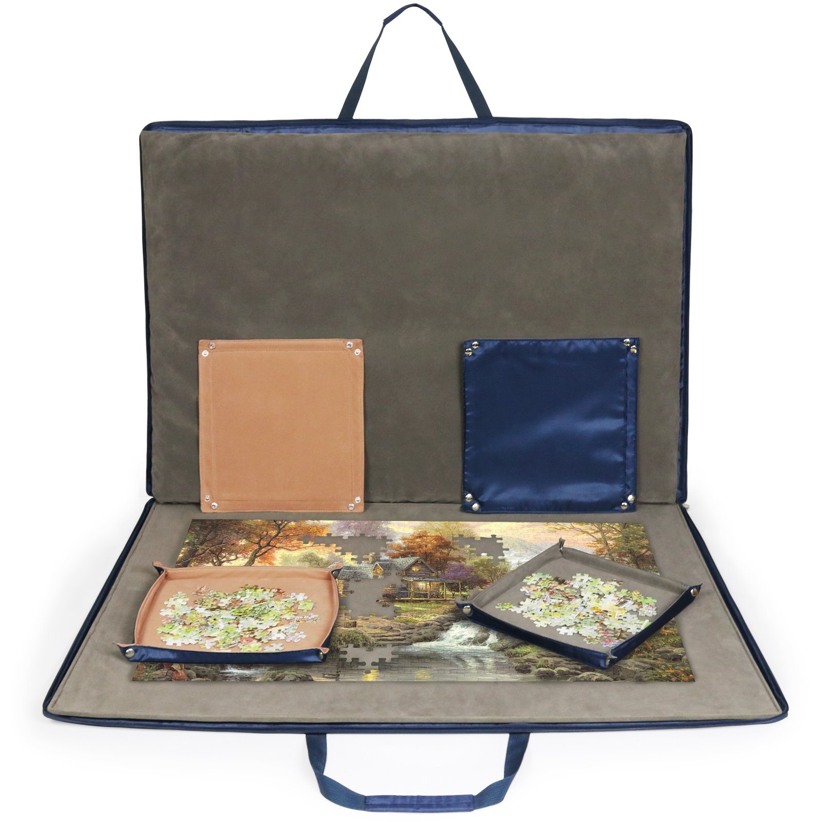 Lavievert Oxford Cloth Jigsaw Puzzle Case Puzzle Storage For Up To 1,500 Pieces - Blue