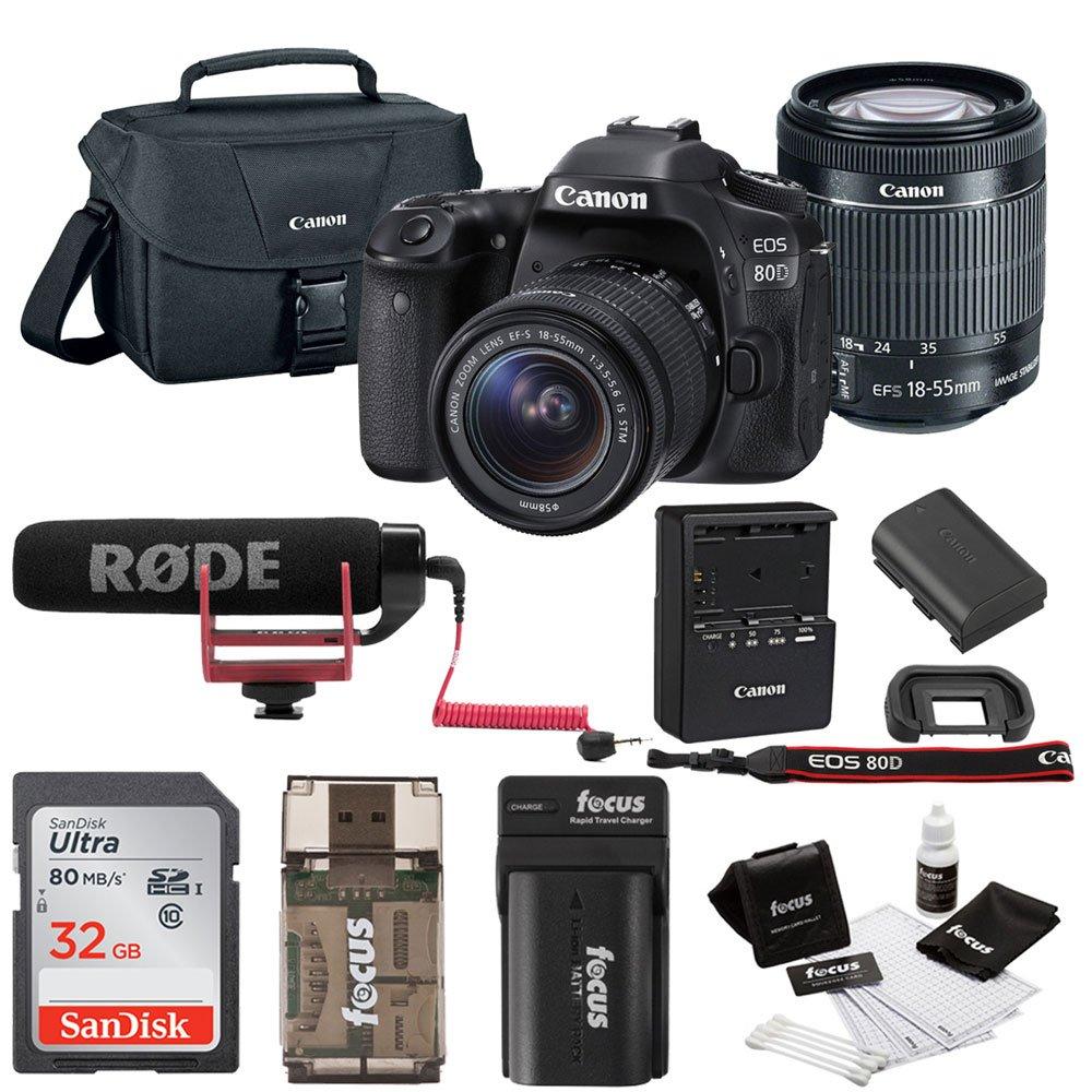 Canon EOS 80D DSLR Video Creator Kit w/ 18-55mm lens, Rode VIDEOMIC GO, 32GB Card, Canon Bag & Kit