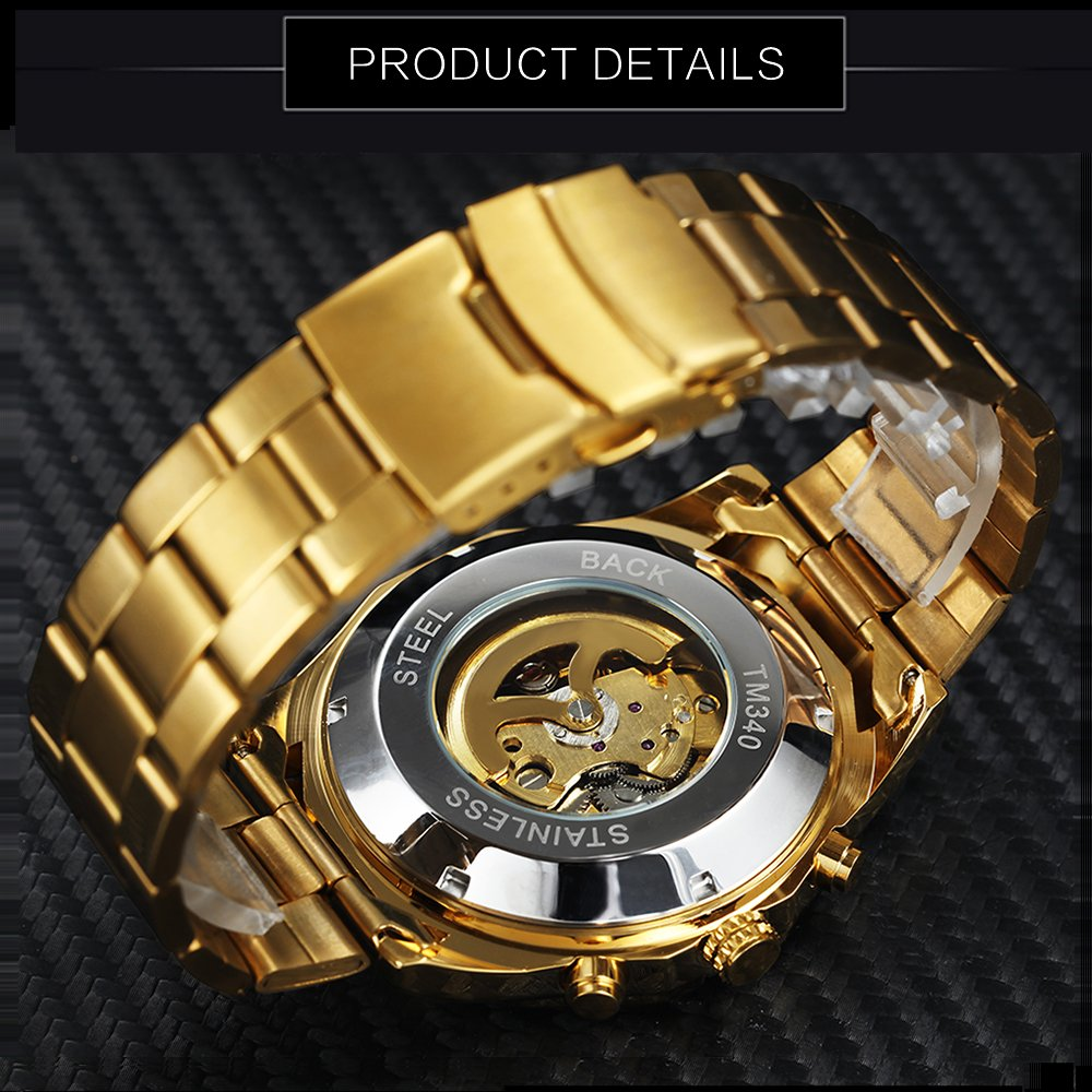 Amazon.com: CALUXE Gold Skull Watch Men Imported Mechanical Movement Stainless Steel Band Skeleton Auto Wrist Watch: Watches