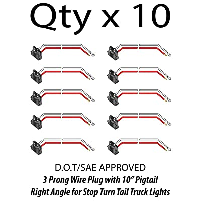 [ALL STAR TRUCK PARTS] 3 Prong Pigtail Wire Right Angle Plug for Truck Trailer Stop Turn Tail Lights - Qty 10: Automotive