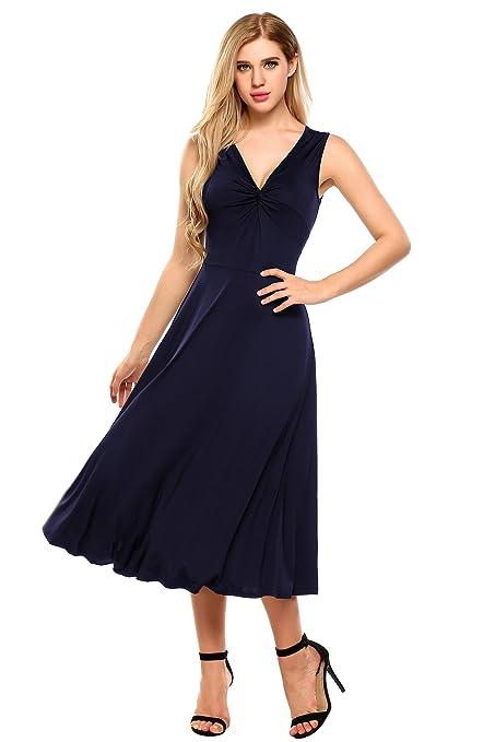 Meaneor Damen Elegant Shirtkleid ohne Ärmel V-Ausschnitt Sommerkleid  Abendkleid Festlich Swing Wickelkleid Wadenlang  Amazon.de  Bekleidung 96b4c5838d