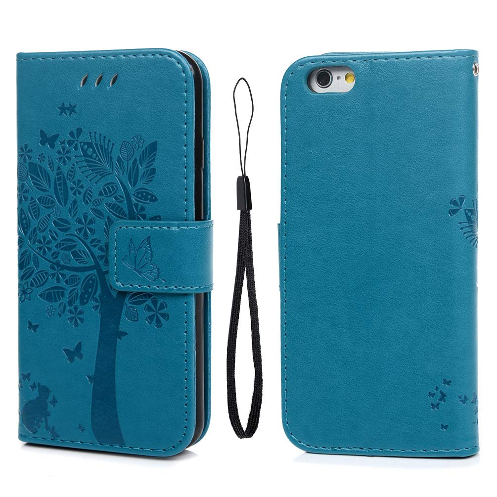 YOKIRIN iPhone 6 Case, iPhone 6S Case (4.7 inch), Wallet Case Soft PU Leather Notebook Tree Embossed Design Case with Kickstand Function Card Holder and ID Slot Slim Flip Protective Skin Cover Blue