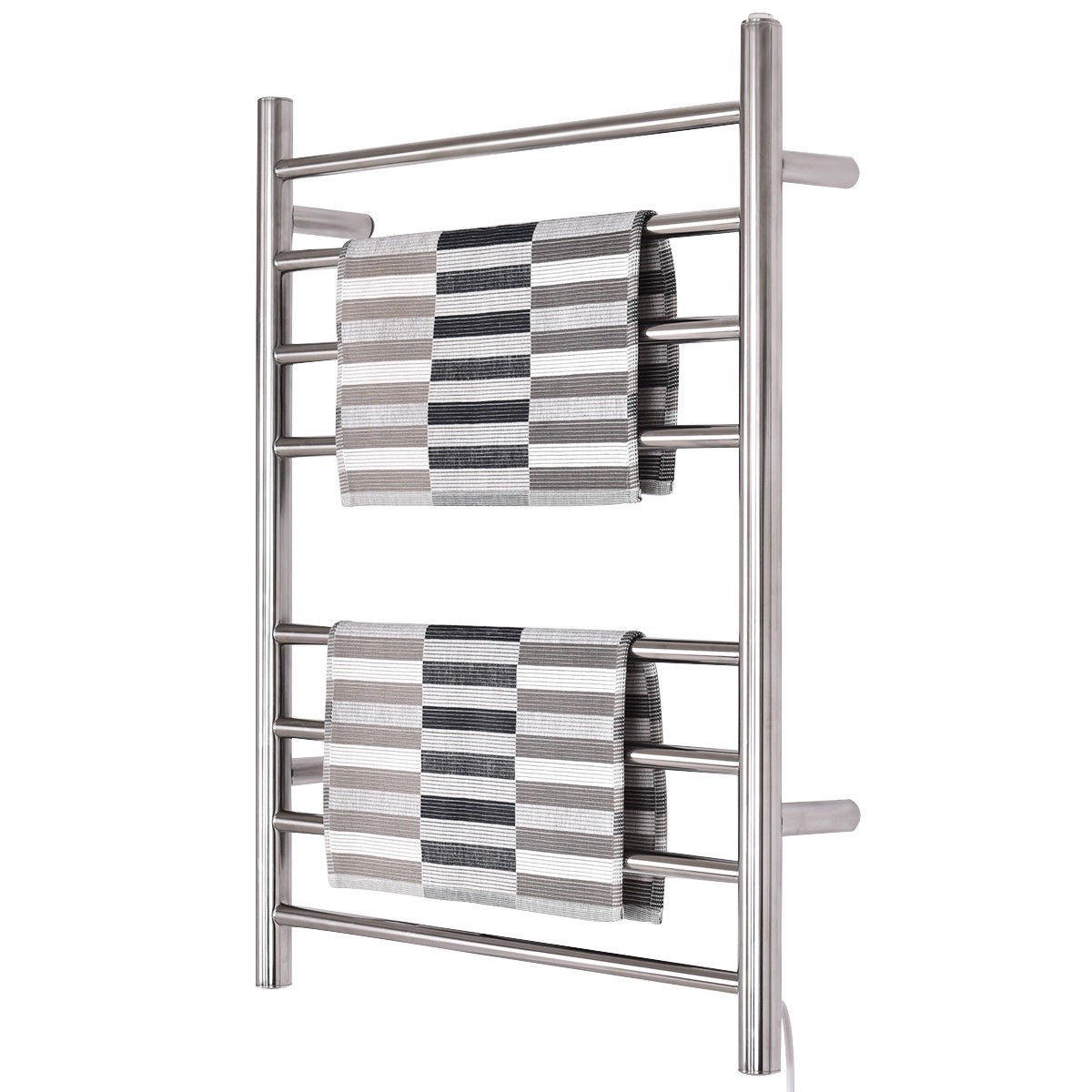 WATERJOY Towel Warmer and Drying Rack, 8 Bars Heated Stainless Steel Towel Rack, Wall-Mounted