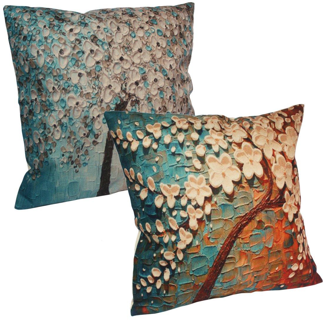 kilofly Home Decorative 3D Print Throw Pillow Cover Case, 18 x 18 [Set of 2] TRTAZ11A
