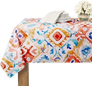 RYB HOME Rectangle Table Cloth Patchwork Colorful - Spillproof Scratch Resistant Tablecloth for 6 Foot Table Indian Passionate Pattern for Tradeshow Family Gatherings Buffet, 60 x 84