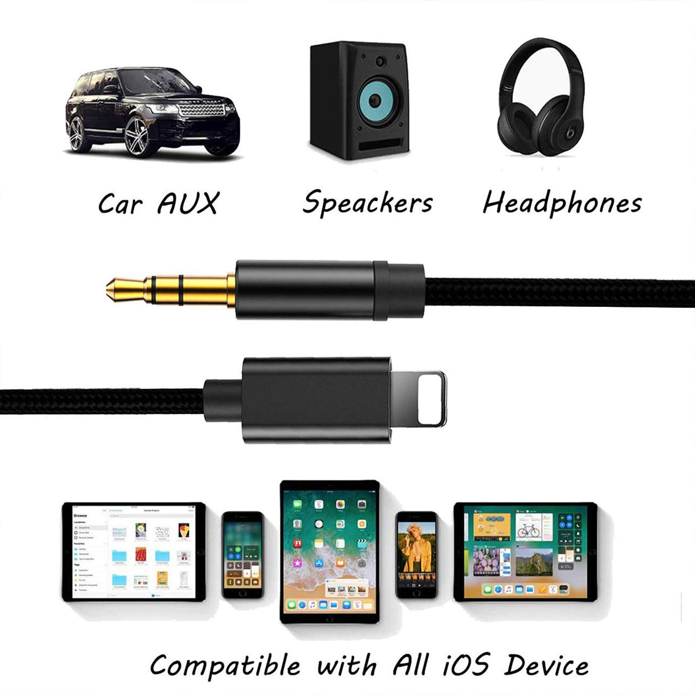 Cable Jack 3.5 mm Macho para iPhone Cable Auxiliar Coche para Auriculares Negro
