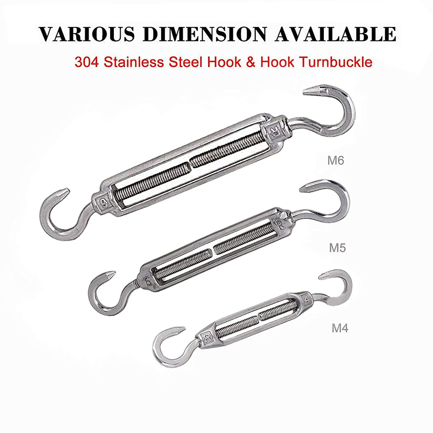 POFET 10pcs M4 Stainless Steel 304 Hook/& Hook Turnbuckle Wire Rope Strong Tension Hardware Kit for Wire Rope Tension Heavy Duty