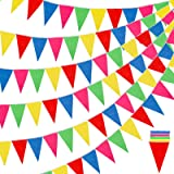 RUBFAC 1020ft 720pcs Colorful Flag Pennants Multicolor Rainbow Pennant Banner Nylon Cloth Banner, Garland for Grand Opening,