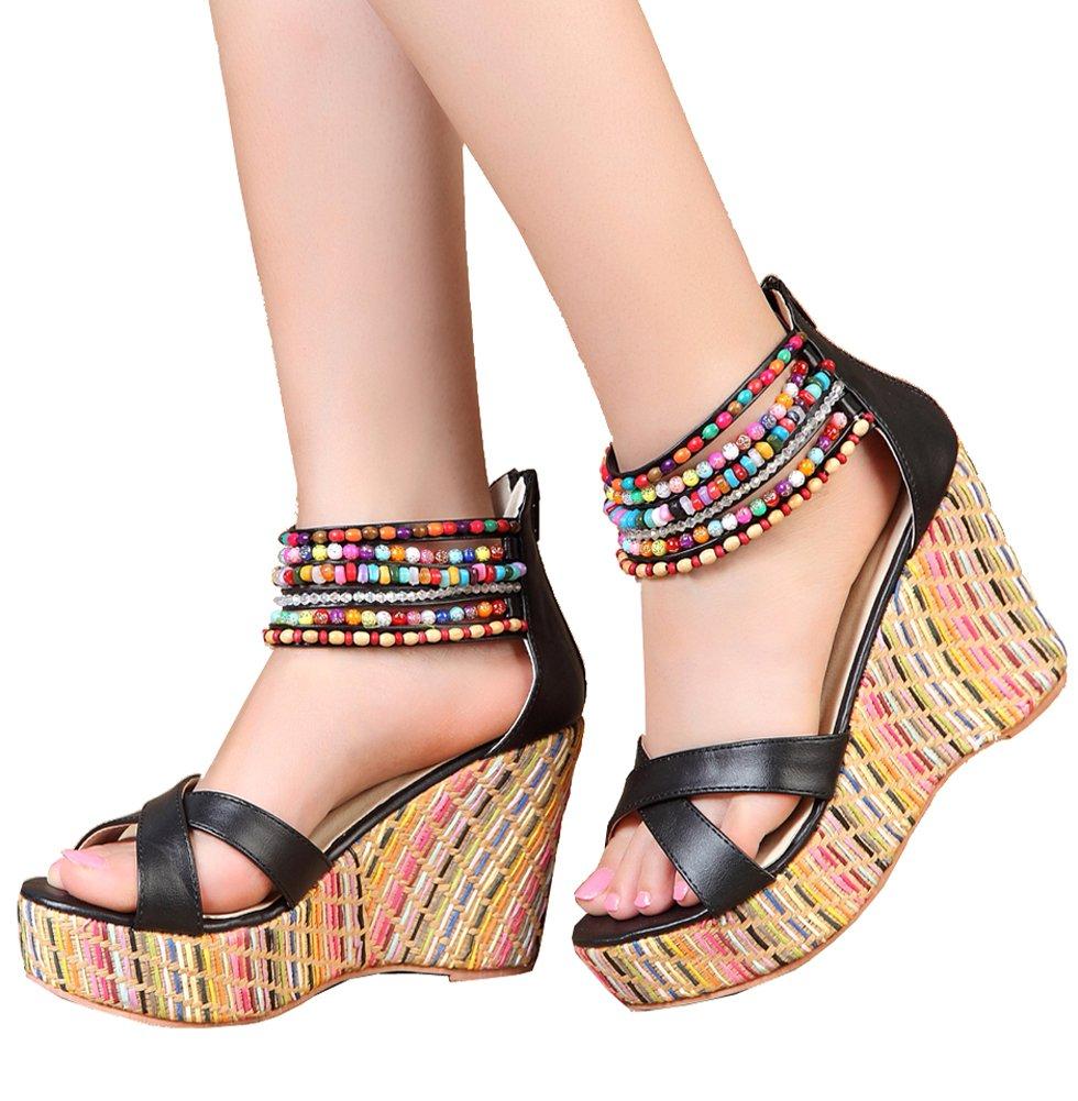 getmorebeauty Women's Black Weave Wedge Pearls Across The Top Platform High Heels 9 B(M) US