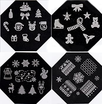 christmas new year theme nail art polish stamp stamping manicure image plates set kit 4 pc