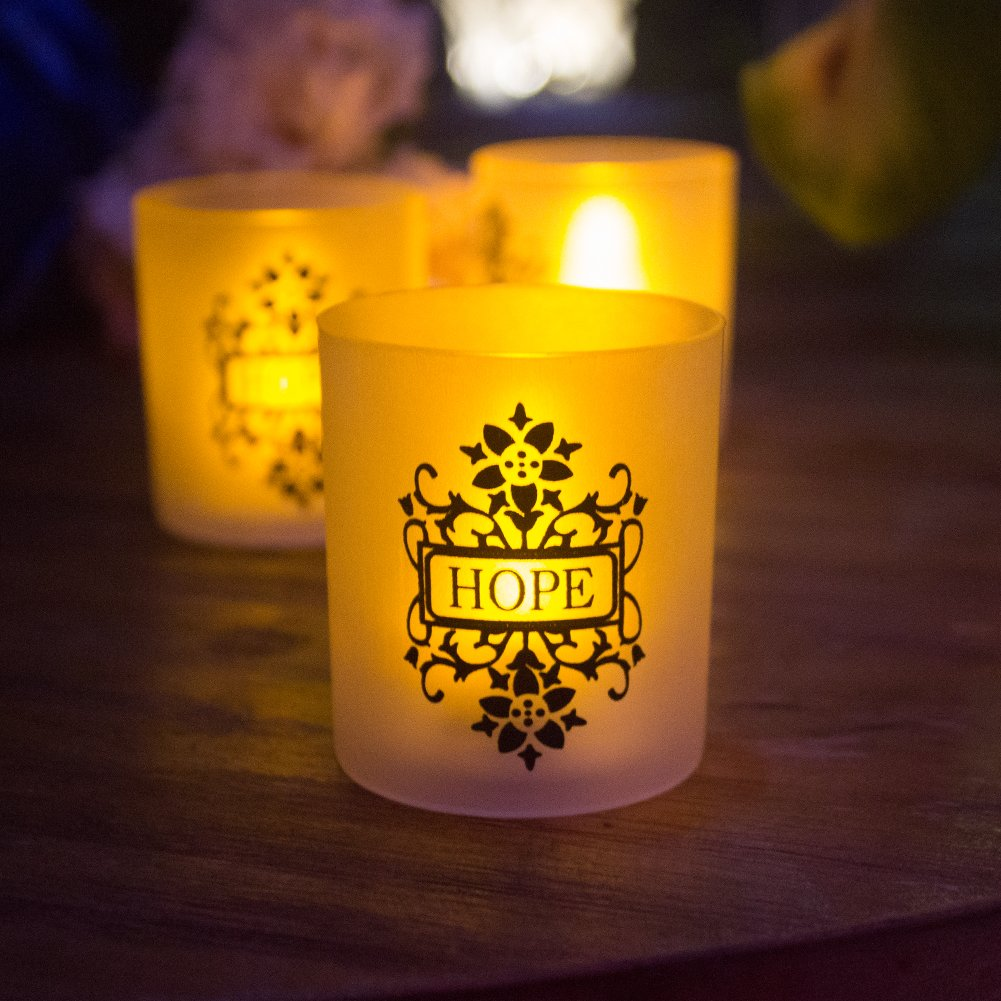 FAITH HOPE LOVE Frosted Plastic Glass Candle Votive Holders - Warm Yellow Flickering Powered By Battery,Wedding Party Chrismas Halloween Dining Table Home Decorations Set of 6 by LOGUIDE (Image #4)
