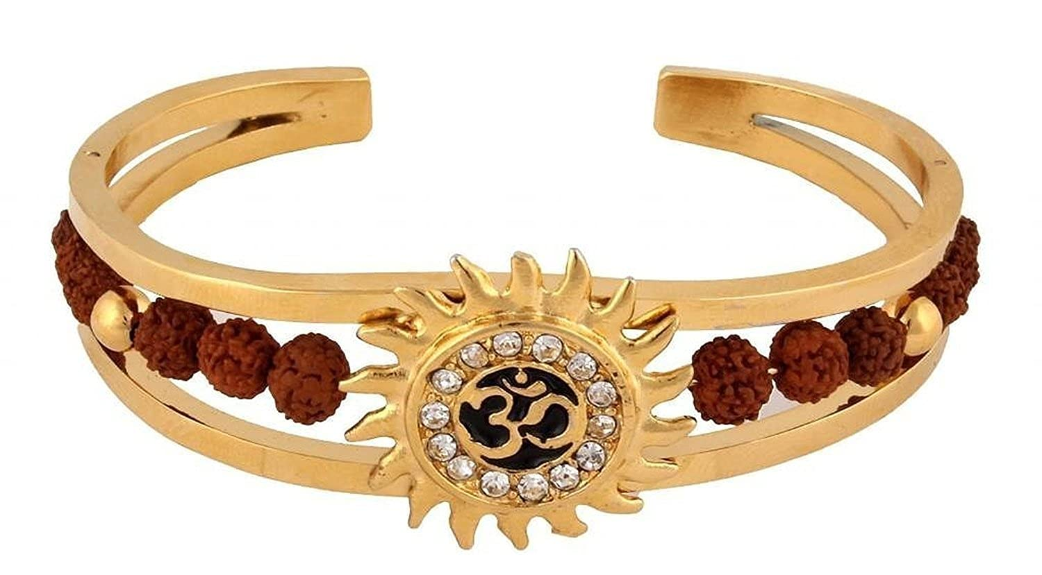 Glory Jewels Rudraksh American Diamond Gold Meena Om Sun Cuff Kada ...