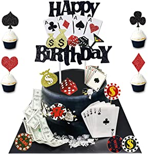 25 Pieces Casino Cake Topper with Happy Birthday Glitter Poker Heart Cupcake Toppers Playing Cards Vegas Theme Cupcake Toppers Decorations Poker Night Party Supplies