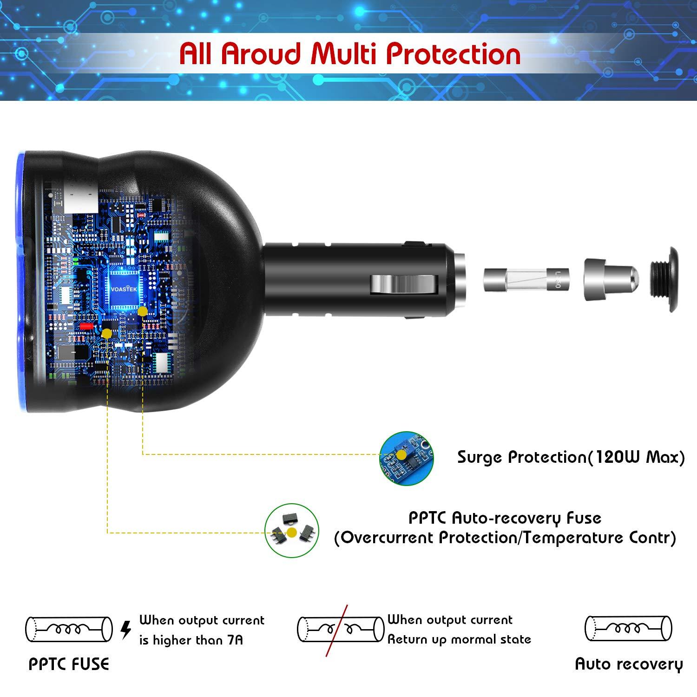 Adaptateur Secteur s/éparateur Allume-Cigare /à 2 Prises Chargeur Voiture USB C//PD pour t/él/éphones VOASTEK 120W Adaptateur Secteur Prise DC 12V-24V et 4 Ports 1xPD + 1xQC3.0 Ports USB + 2xSmart USB