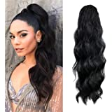 KETHBE 24 Inch Long Body Wave Ponytail hair Extension Synthetic Heat Resistant Wrap Around Drawstring Curly Wavy…