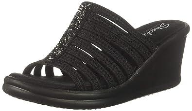 7df85402224e Skechers Women s Rumblers Galore-Rock Glitter Multi-Strap Slide Wedge  Sandal Black 5 M