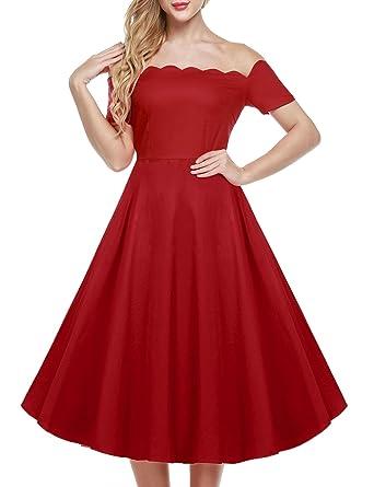 CRAVOG Women 50s Retro Dress Off Shoulder Cap Sleeve Dress