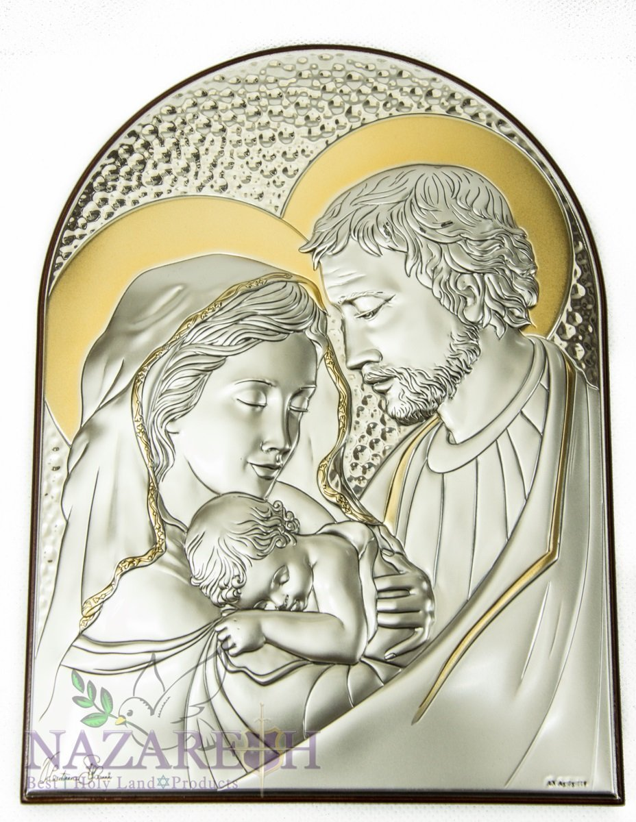 Holy Family Icon Italian Sterling Silver Holy Land 9.1'' by Holy Land Gifts