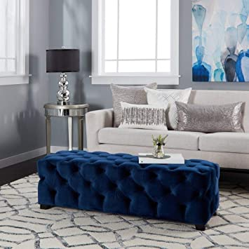 Amazon Com Glam Furniture Traditional Button Tufted Rectangle Velvet Ottoman Bench Modern Footrest Coffee Table Ottoman Comfy For Living Room Bedroom 15 75 High X 50 75 Wide X 18 75 Deep Navy Blue