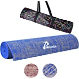POVUMGA Yoga Mat Eco-Friendly Exercise Mat With Carry Bag Slip-Proof Sweat-Absorbent PVC And Linen Yoga Mat For Yoga Gym Pilates Outwork Sitting-Ups Stretching 183cm X 61cmX 5mm