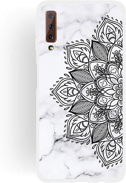 Shinyzone Girly Mignon Étui pour Samsung Galaxy A7 2018,Coque Samsung Galaxy A7 2018 Élégant Mandala Marbre Motif pour Femmes Gel TPU Souple Mat ...