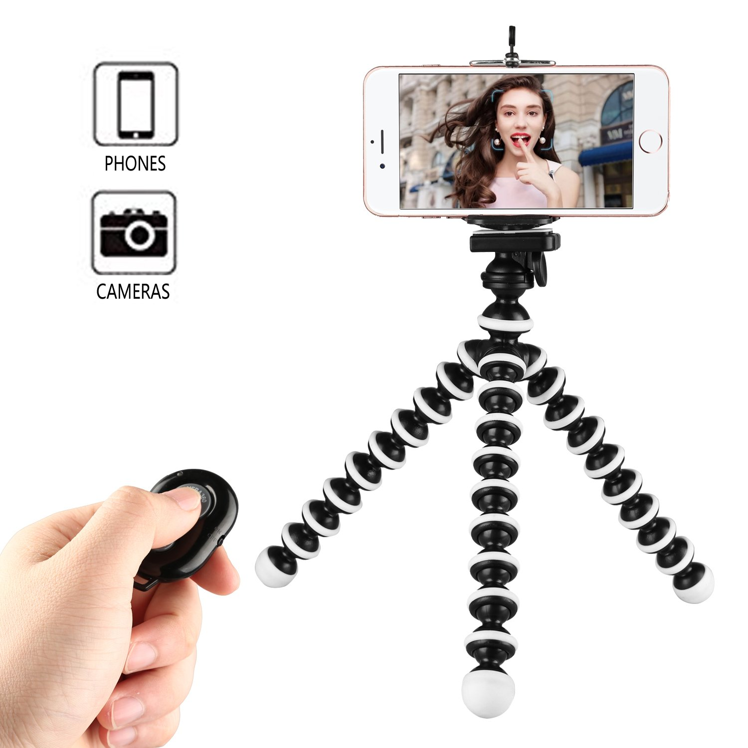 Kamisafe Mini Selfie Stick Phone Tripod Stand Holder with Universal Clip & Remote Control for Logitech Webcam C920 C922 C930e C930 C615 iPhone X 8/8s 7 7 Plus 6s Plus Samsung Galaxy S8 Plus S8 Edge S7