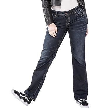d2450dc7 Silver Jeans Co. Women's Plus Size Suki Mid Rise Slim Contour Bootcut Jean,  Dark