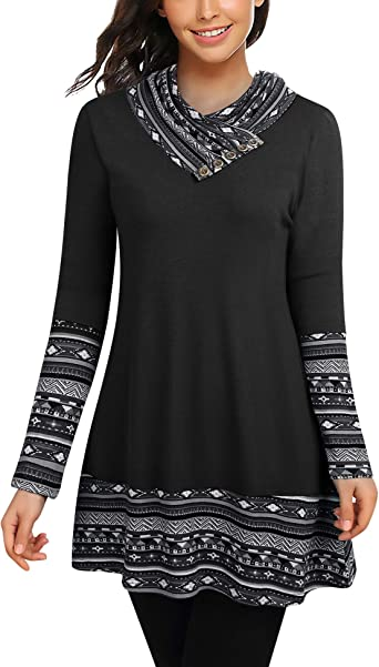 Cowl Neck Tunics Long Sleeve Patchwork Form Fitting Casual A-Line Top  Blouse at Amazon Women's Clothing store