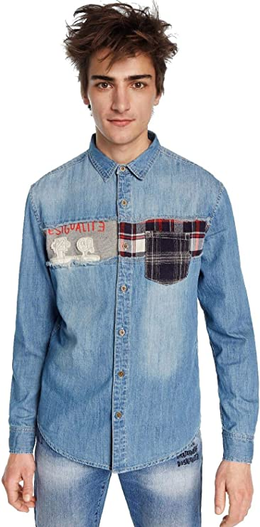 Desigual - Camisa CAETANO Hombre Color: 5053 Talla: Size M: Amazon.es: Ropa y accesorios