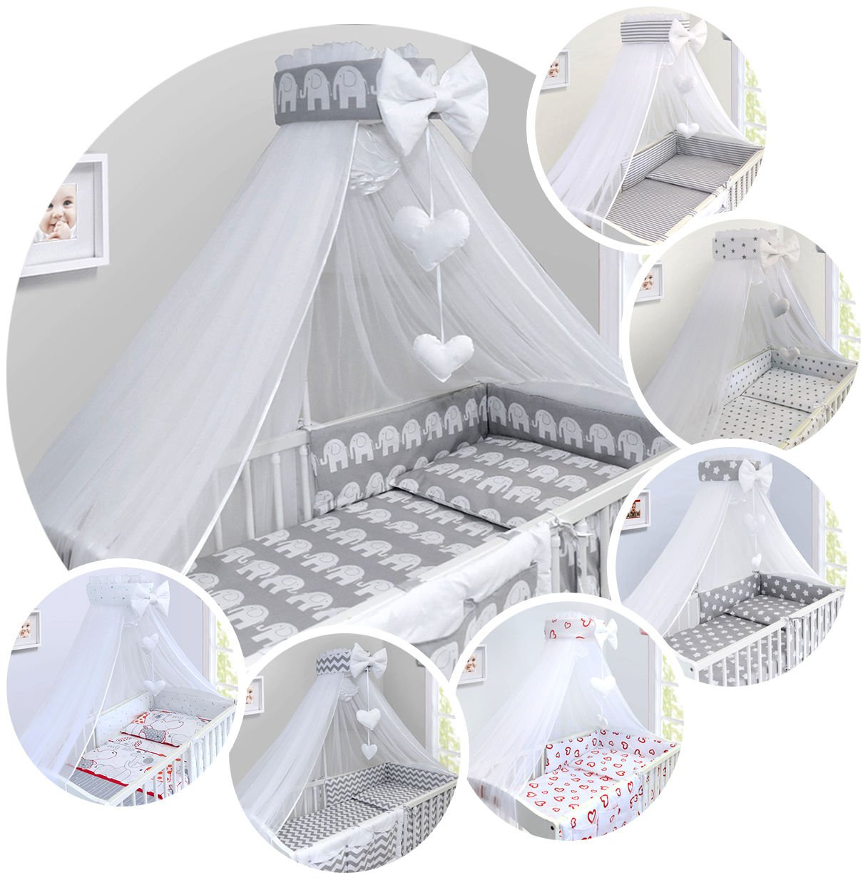 LUXURY 14Pcs BABY BEDDING SET COT BED 140x70cm PILLOW DUVET COVER BUMPER FEEDING PILLOW COT TIDY CHANGING MAT CANOPY (Elephants on Grey Background) TheLittles24