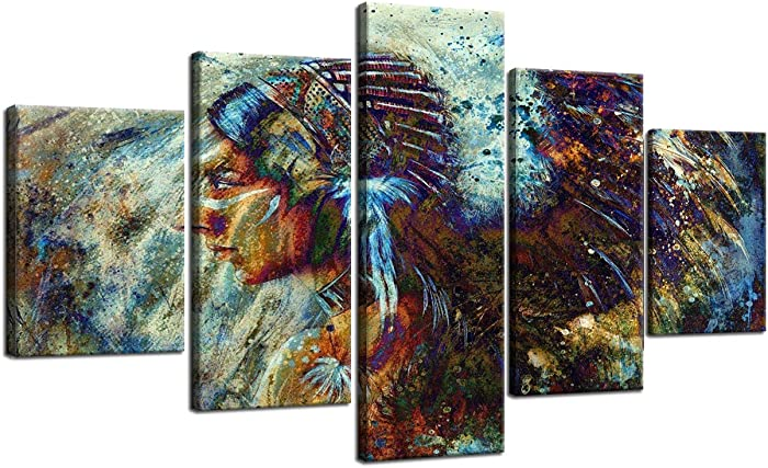 Large Ancient Native American Painting on Canvas 5 Piece Wall Art Retro Indian Chief Painting Mystic Pictures Print for Home Decor Framed for Living Room Giclee Stretched Ready to Hang(60''Wx32''H)