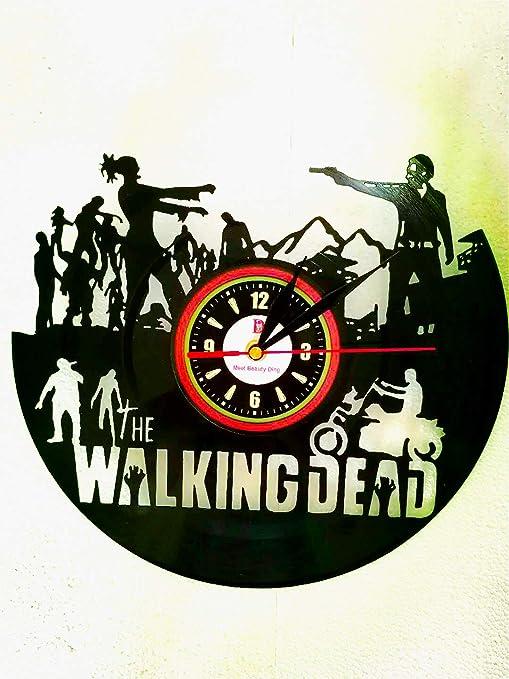 Walking Dead Tocadiscos Reloj de pared exclusiva Distressed Tiempo ...
