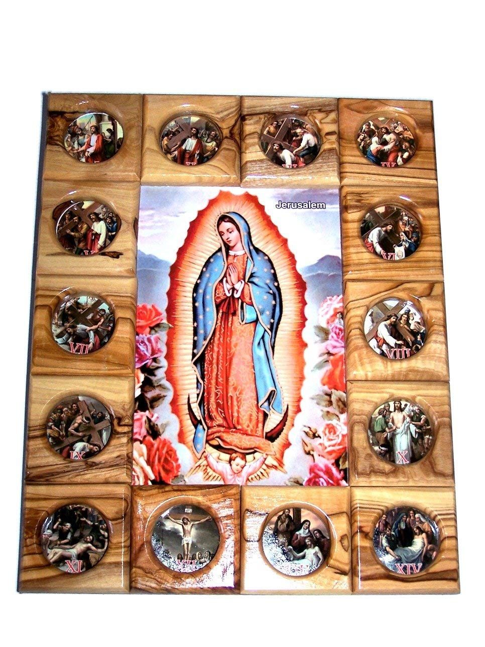 Holy Land Market Our Lady of Guadalupe with Stations of The Cross Icon Plaque All in Olive Wood from Bethlehem 29 x 24 cm or 11.5 x 9.5 inches