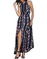 ZAFUL Halter Deep V Keyhole Sleeveless Backless Bohemian Beach Maxi Dress Solid Floral Split Dress