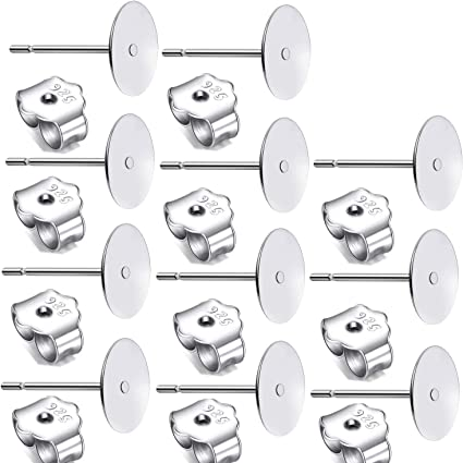 30 Pcs 925 Sterling Silver Earrings Posts Flat Pad Blank Earring Pin Studs 30 Pcs 925 Sterling Silver Earring Backs for Earring Making Supplies Kit