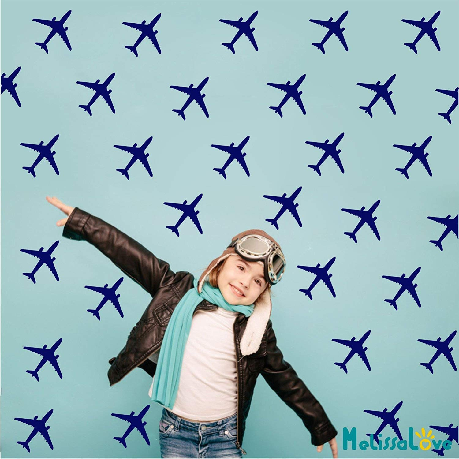 Melissalove 24pcs/Set Airplane Wall Pattern Wall Decals DIY Wall Decor Stickers for Kids Room Boy Bedroom Home Decor Mural A430 (Dark Blue)