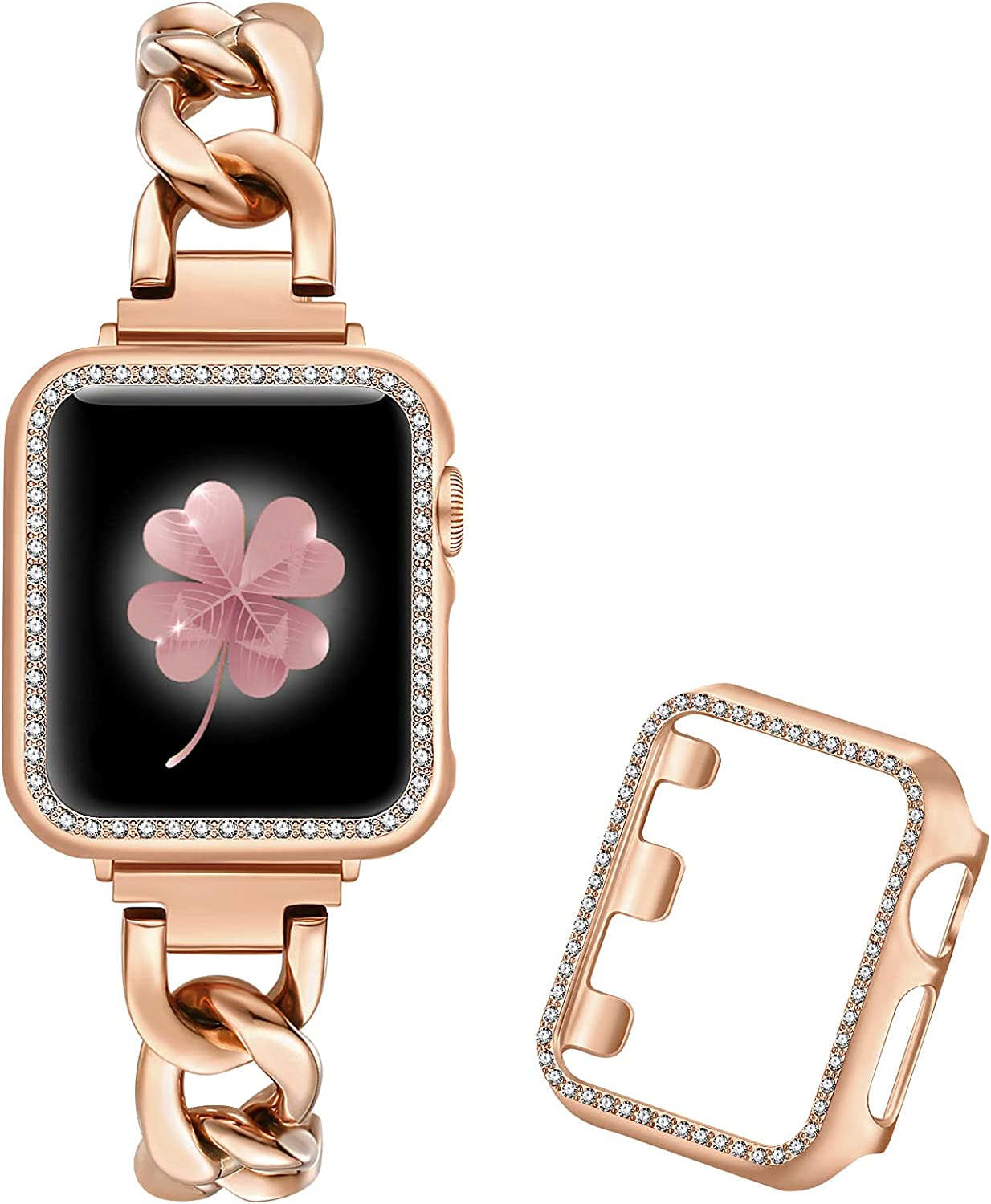 Dilando Cool Chain Metal Link Bands Compatible with Apple Watch 38mm 40mm 42mm 44mm with Bling Case Women, Stainless Steel Band Case for Iwatch SE series 6 5 4 3 2 1 Rose Gold(Rose Gold, 38mm)