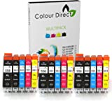 15 XL Colour Direct Compatible Ink Cartridges Replacement For Canon CLI-551XL / PGI-550XL Pixma MG5450 MG5550 MG5650 MG6350 MG6450 MG6600 MG6650 MX925 MX725 MG7150 MG7550 iP7250 iP7200 iP8750 iX6850 Printers. 3 X Big Black 3 X Black 3 X Cyan 3 X Magenta 3 X Yellow