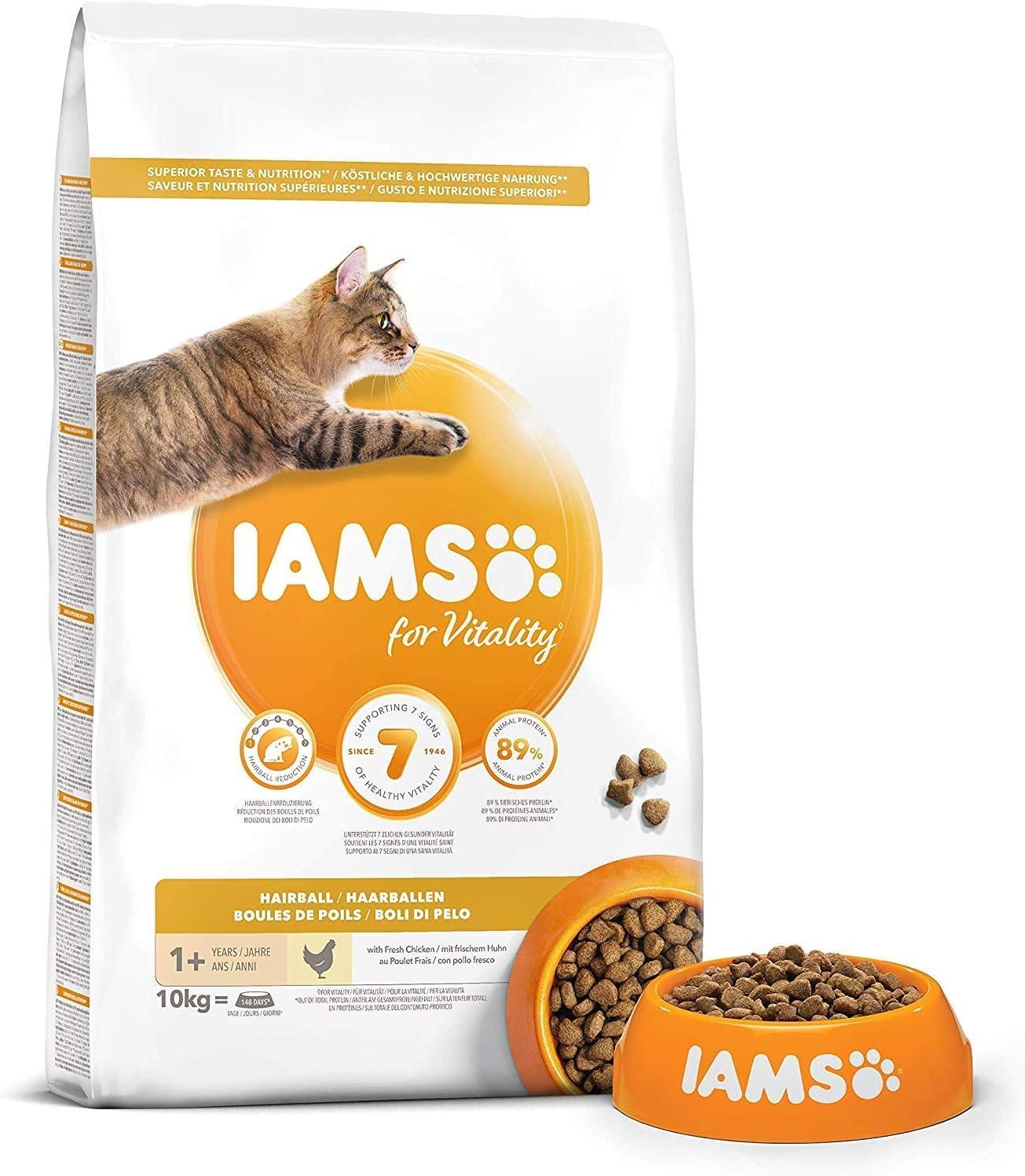 IAMS for Vitality Bolas de Pelo Alimento para Gatos con pollo fresco, 10 kg: Amazon.es: Productos para mascotas