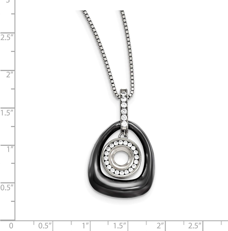 Titanium Polished Ceramic CZ Pendant on Steel Necklace 38x23mm 18 Inches