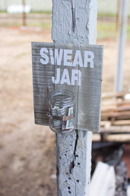 KALALOU Wooden Swear Jar Wall Sign, One Size, Gray