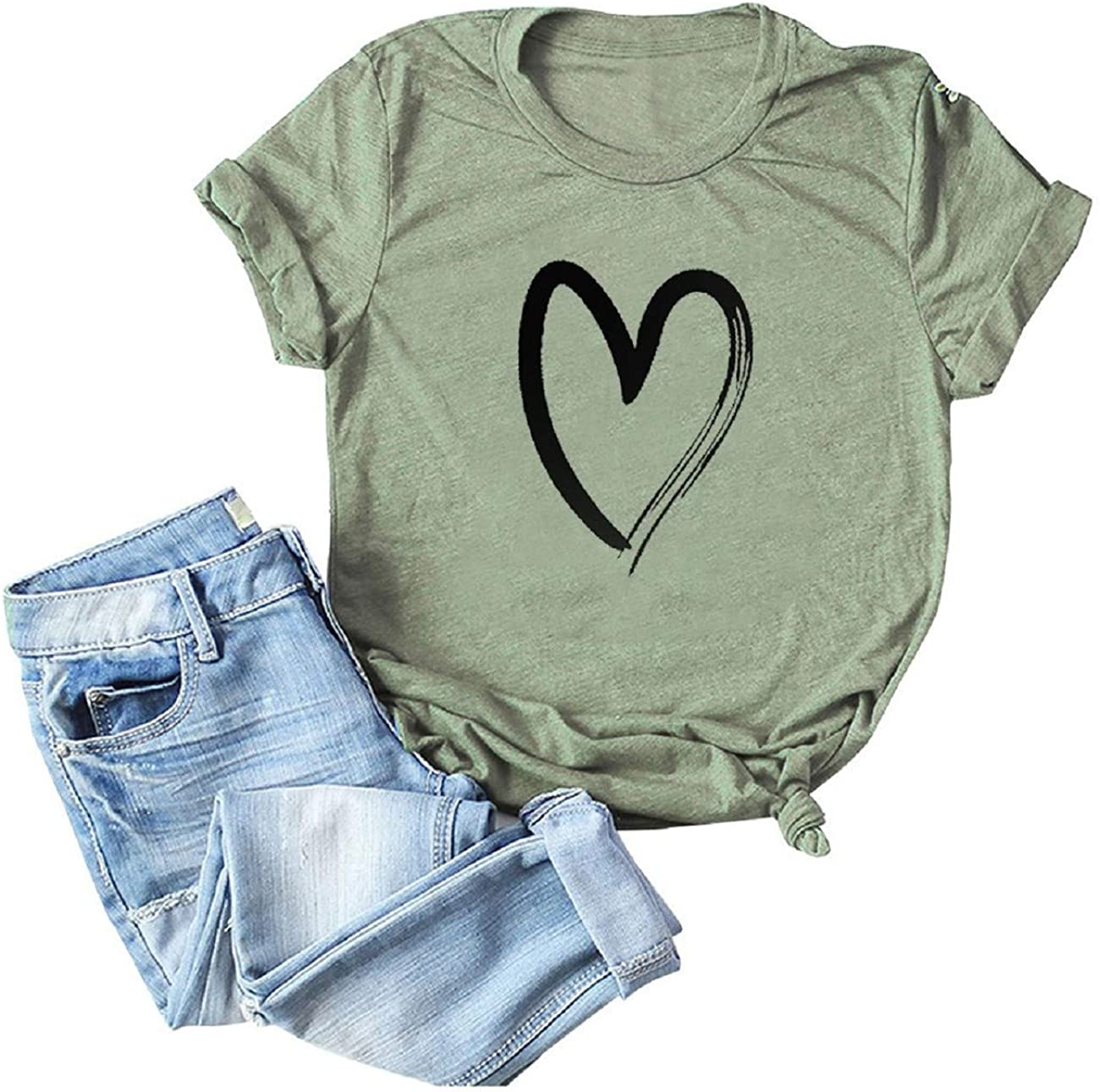 FAPIZI Women Summer Short Sleeve T Shirt Casual O Neck Heart Printed Loose Solid Color Blouse Plus Size Tops Pullover
