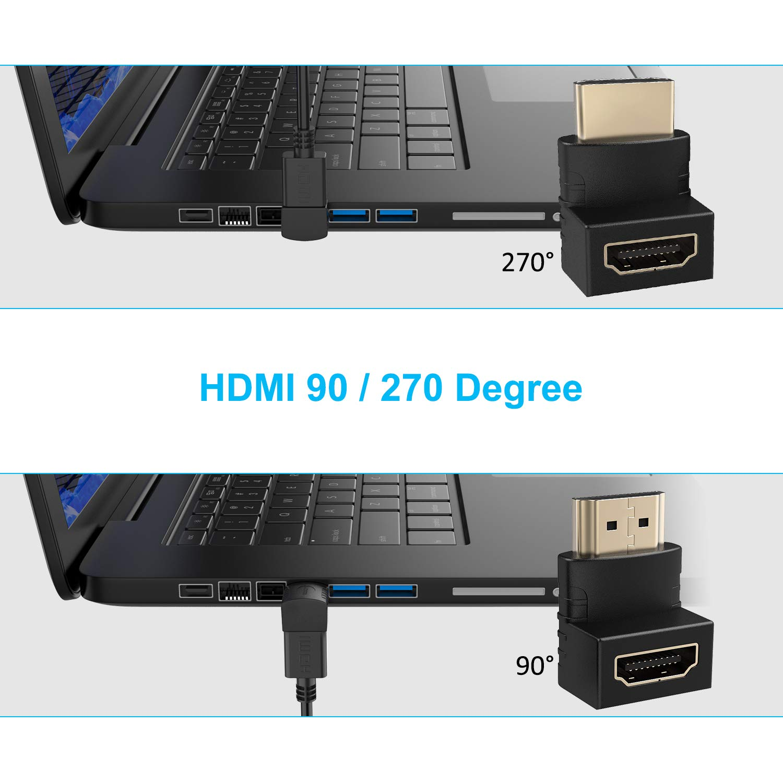 ELUTENG HDMI Adapter 4 Pack Micro HDMI 90 Degree and 270 Degree Corner HDMI with Mini HDMI