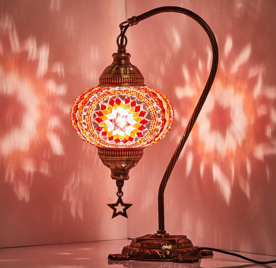 Demmex 2019 Turkish Moroccan Mosaic Table Bedside Night Tiffany Bedside Lamp for US Use, Red