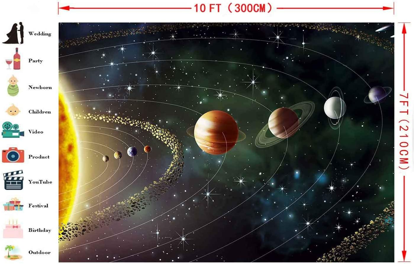 7x10 FT Fantasy Vinyl Photography Backdrop,Science Fiction Outer Space with Planetary Surface Cosmos Graphic Background for Party Home Decor Outdoorsy Theme Shoot Props