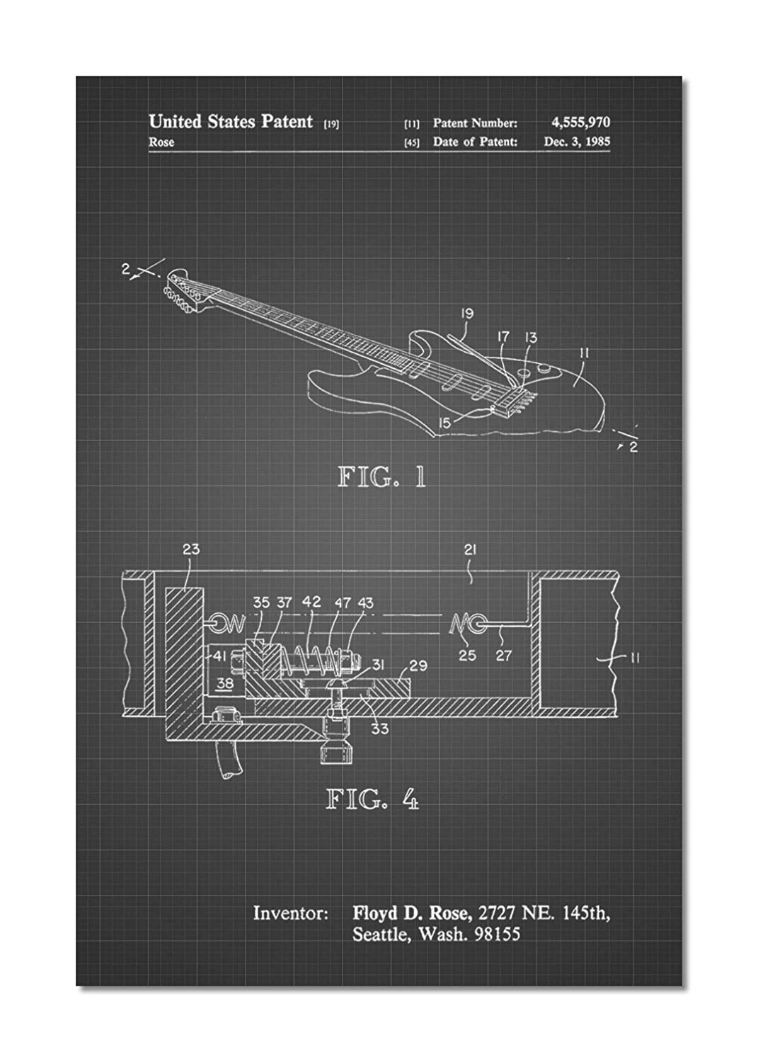 Floyd Rose Tremolo Patent Poster Posters Prints Diagram