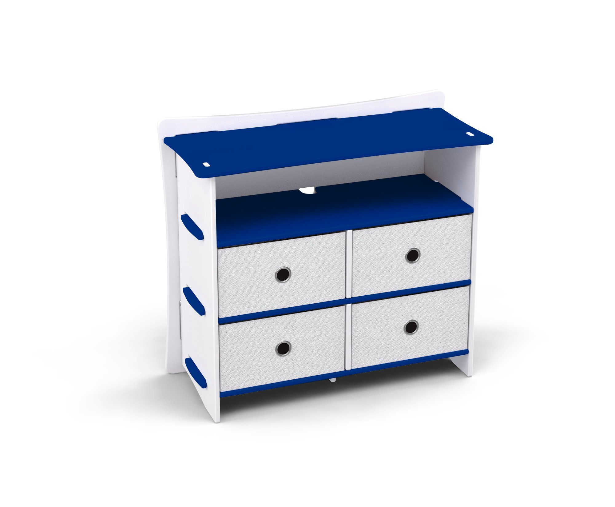 Legaré Kids Furniture Race Car Series Collection, No Tools Assembly 4-Drawer Dresser, Blue and White