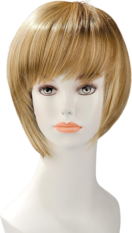 Audacieux World Wigs Perruque Blonde Carré Court Plongeant avec Frange CU-61
