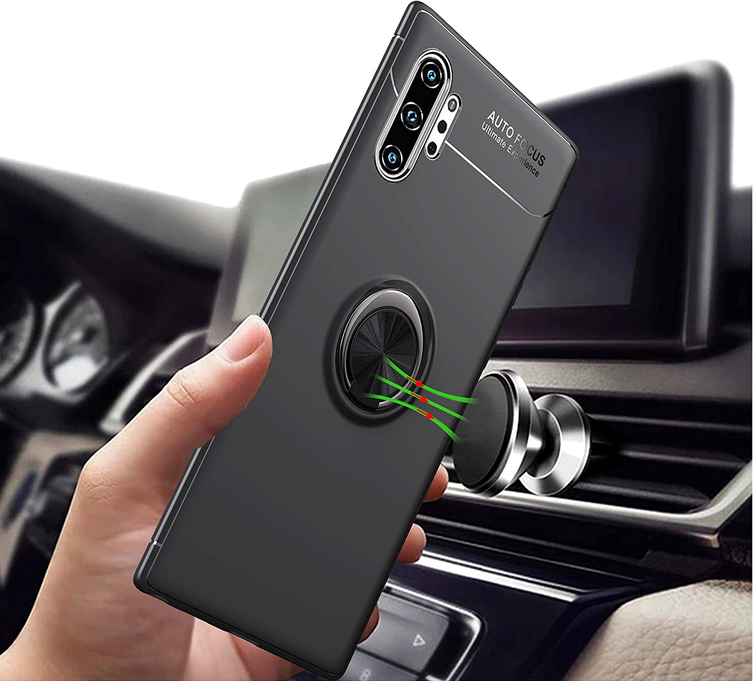 Frosting Thin Soft Protective and 360/° Adjustable Finger Ring Holder Kickstand Case 6.8 Inch Fit Magnetic Car Mount-Black+Red Newseego Compatible with Samsung Galaxy Note 10 Plus 5G Case
